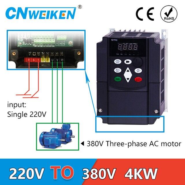 4kw VFD step up voltage converter inverter 220v to 380v single phase 220V converter to three phase 380v AC power transformer