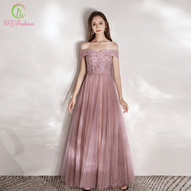 SSYFashion New Sweet Nude Pink Evening Dress Boat Neck Lace Appliques Floor-length Party Formal Gowns Custom Vestidos De Noche