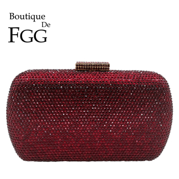 Boutique De FGG Wine Red Women Crystal Evening Bags Wedding Metal Clutches Party Cocktail Purse and Handbag chinese old school style women red silk floral appliques beading sequins embroidery metal frame evening clutches purse handbag