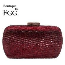 Boutique De FGG wino czerwone kobiety kryształowe torby wieczorowe ślubne metalowe saszetki Party Cocktail torebka i torebka