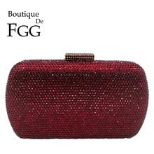 Sac à main et pochette en métal pour soirée en cristal pour femmes, pochette De Boutique FGG vin rouge, Cocktail et sac à main