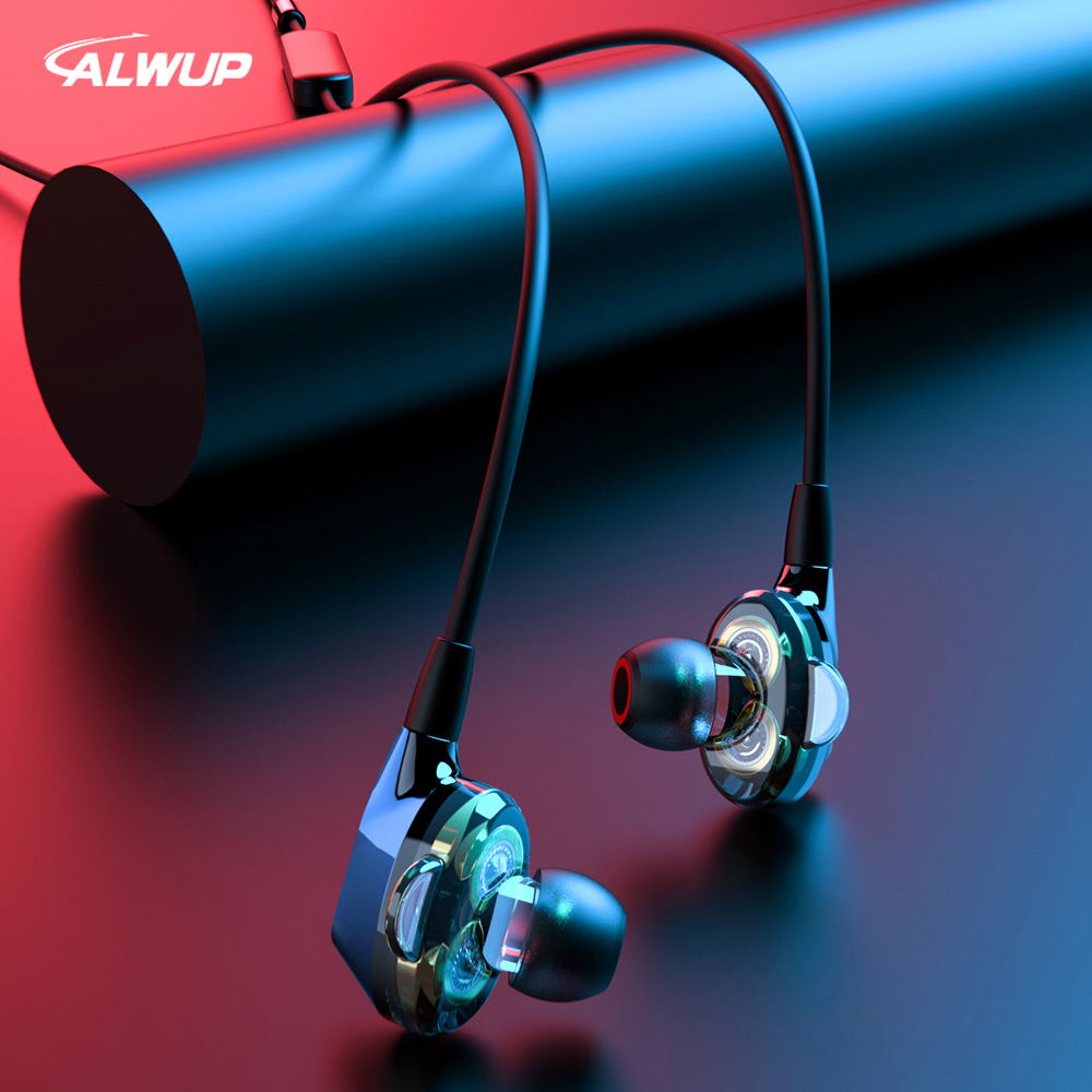 ALWUP G02 Bluetooth Earphone Wireless Headphones Dual Drivers Stereo Magnetic Neckband Sport For Phone With Mic 12H Music Time