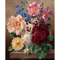 Безрамная картина винтажный цветок DIY картина по номерам Европа ручная роспись маслом на холсте акриловая краска для домашнего декора