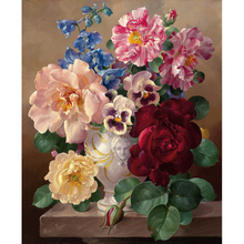 Купить с кэшбэком Frameless Picture Vintage Flower DIY Painting By Numbers Europe Hand Painted Oil Painting On Canvas Acrylic Paint For Home Decor