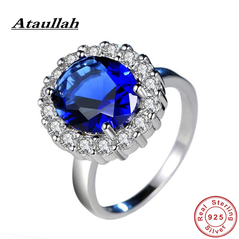 Ataullah Blue Sapphire Ring Silver 925 Jewelry Plated Inlaid with 3A Zircon Gemstone Ring for Woman Fine Jewelry Party RW088