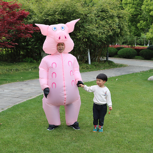Image 2 - Inflatable Pink Pig Costume Adult Kids Dress Anime Cosplay Costumes Thanksgiving Christmas Pig Cute Funny Paty Cosplay Clothes