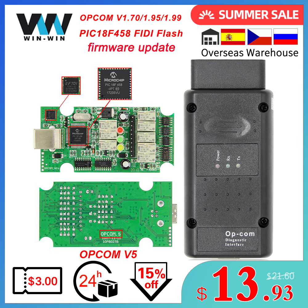 Opcom v5 para opel op com 1.70 flash atualização de firmware OP-COM 1.95 pic18f458 fidi pode ônibus obd obd2 scanner carro diagnóstico ferramenta automóvel