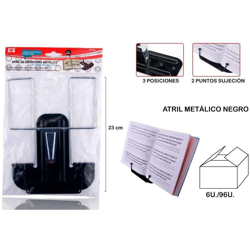 Soporte Atril De Mesa Escritorio Plegable Metalico Para Los Libros Negro/azul/rojo 3 Posiciones Y 2 Puntos De Sujección