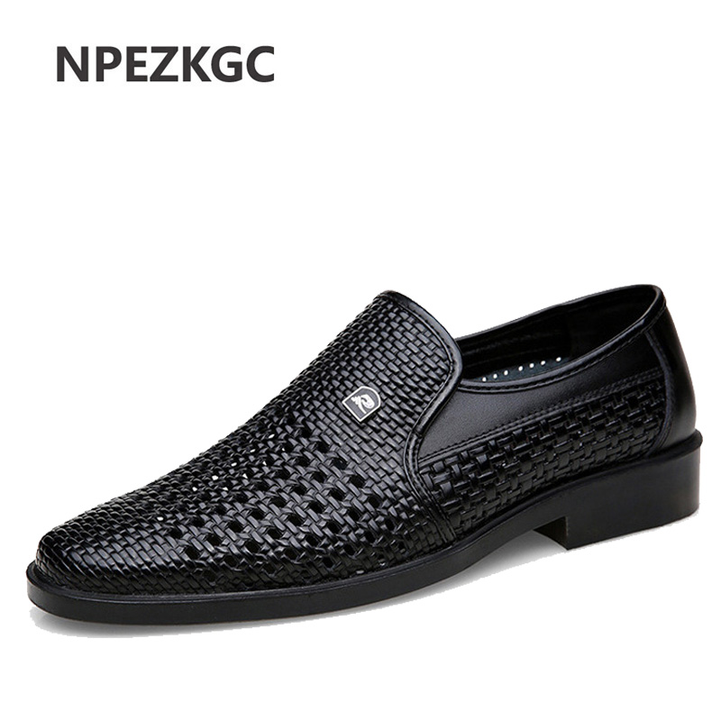 Luxury Brand Genuine Leather Fashion Men Business Dress Loafers Pointed Toe Black Shoes Oxford Breathable Formal Wedding Shoes