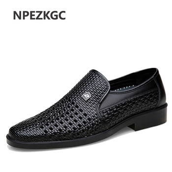 Luxury Brand Genuine Leather Fashion Men Business Dress Loafers Pointed Toe Black Shoes Oxford Breathable Formal Wedding Shoes luxury brand designer genuine leather mens wholecut oxford shoes for men black brown dress shoes business office formal shoes