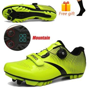 Carbon Fiber Men Cycling Shoe Breathable Triathlon Mountain Bike Shoes Man Sport Road Racing Snaeker Spin Buckle 16