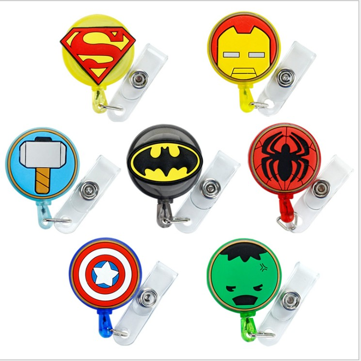 Captain America Retractable Badge Reel High Quality Silicone Cartoon Student Nurse ID Name Card Badge Holder Office Supplies