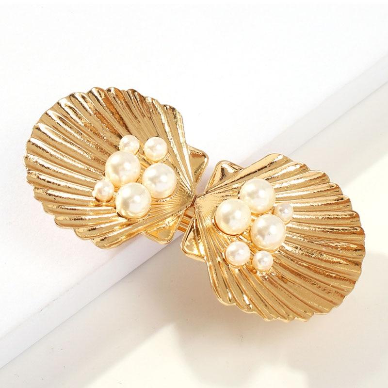 5102050pcs Ocean Imitation Pearl Shell Resin Flatback For Hair Clip DIY Cream Mobile Phone Case Accessories Hair Accessories 28*25mm