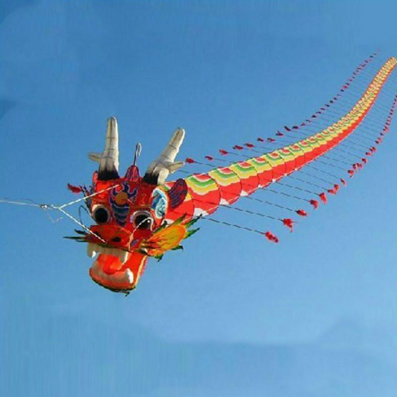 Haute qualité 7m chinois Dragon cerf-volant chinois Design cerf-volant Kit de décoration jouets famille en plein air jouet