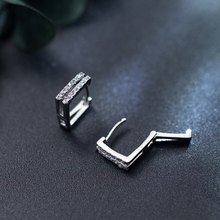 Luxury New 2019 Minimalist 925 sterling silver small square buckle female ear clip geometric earrings for women jewelry gifts(China)