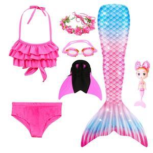Image 2 - 2020ใหม่เด็กMermaid Tail Swimmableชุดว่ายน้ำบิกินี่ชุดว่ายน้ำนางเงือกชุดMermaidตุ๊กตาMermaidวิกผมGarland