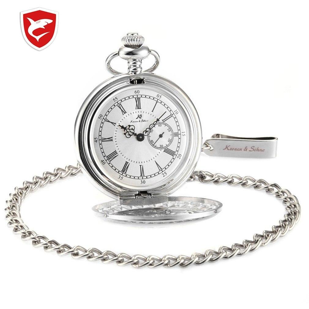 KS Antique Bronze Hollow Craft Case Roman Numerals Japan Movement Quartz Analog Male Pendant Clock Men Pocket Watch Gift /KSP049