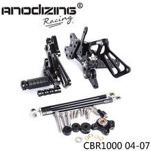 Pieno di Alluminio di CNC Del Motociclo Pedane Regolabili Posteriori Set Pedane Per HONDA CBR1000RR 2004 2005 2006 2007 2007
