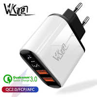VVKing 18W Quick Charge 3.0 Fast Charger HD Smart Display EU Plug For iPhone X Samsung Xiaomi Huawei 2 USB QC3.0 Charger Adapter