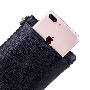 Image 2 - Fashion Women Wallets Handbag Genuine Leather Pouch Ultra thin Wristlet Clutch Lady Cash Phone Coin Purse Small Clutch Pouch