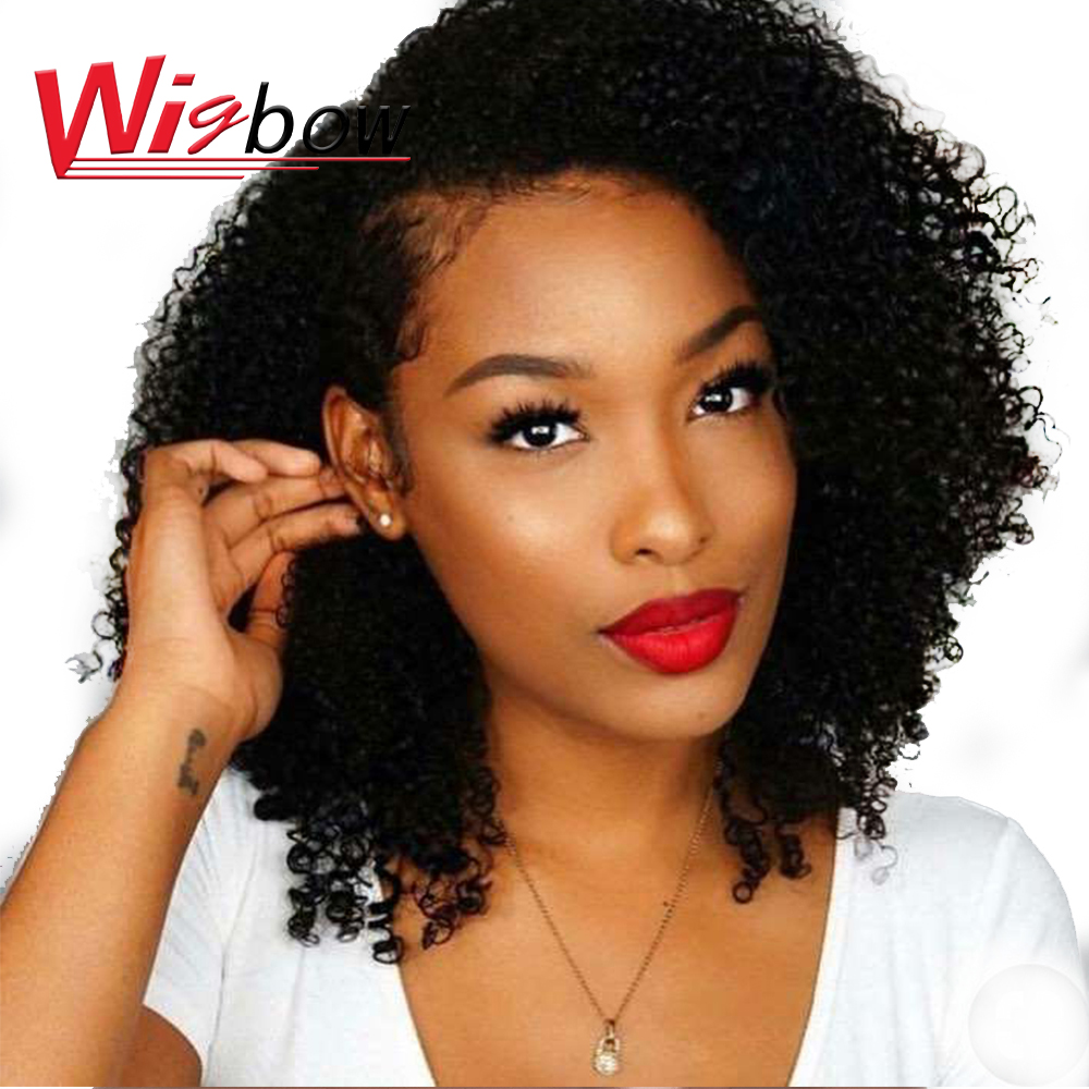 Afro Kinky Curly Wig Brazilian Human Hair Closure Wig Short Curly Wigs Human Hair 30# 99j 180 Density Kinky Curly Wigs For Women