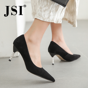 JSI New Office Shallow Women Pumps Slip-On Pointed Toe High Quality Kid Suede High Thin Heels Shoes Elegant Fashion Pumps JO467
