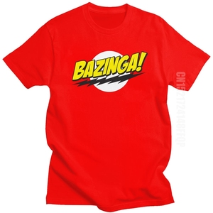 The Big Bang Theory Bazinga T Shirt Men 100% Cotton Handsome Sheldon Cooper T-shirt Geek TBBT Tee Tops Birthday Gift Idea