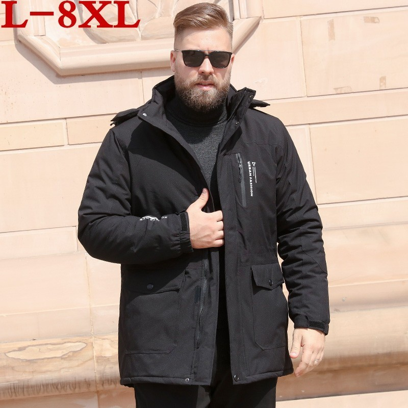 Plus Size 8XL 7XL6XL Men's Winter Warm Jacket Hooded Slim Casual Coat Cotton-padded Jacket Parka Overcoat Hoodie Thick Coat