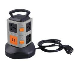 PC + ABS Anti thunder zabezpieczenie przed przeciążeniem 7 Outlet 2 porty USB 2 warstwy gniazdo ue zabezpieczenie przeciwprzepięciowe listwa zasilająca 2500W hot|Wtyczki i złącza|   -