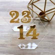 Шестигранные номера, номера свадебных столов, центральные прозрачные акриловые бирки, Акриловые Настольные номера, Золотые Зеркальные Свадебные вывески