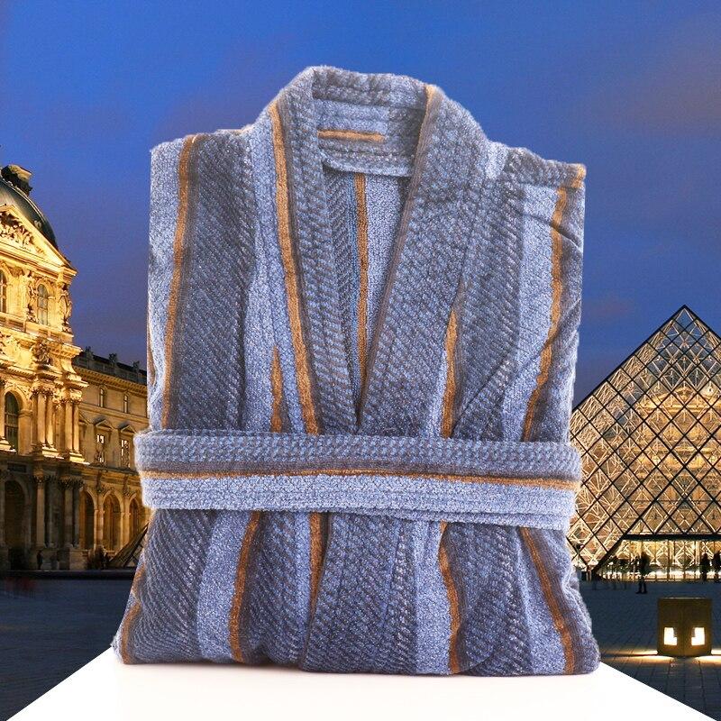 Men's Bathrobe Winter Thick Warm Long Bathrobe Soft Flannel Fleece Waffle Kimono Bath Robe Femme Dressing Gown Bridesmaid Robes