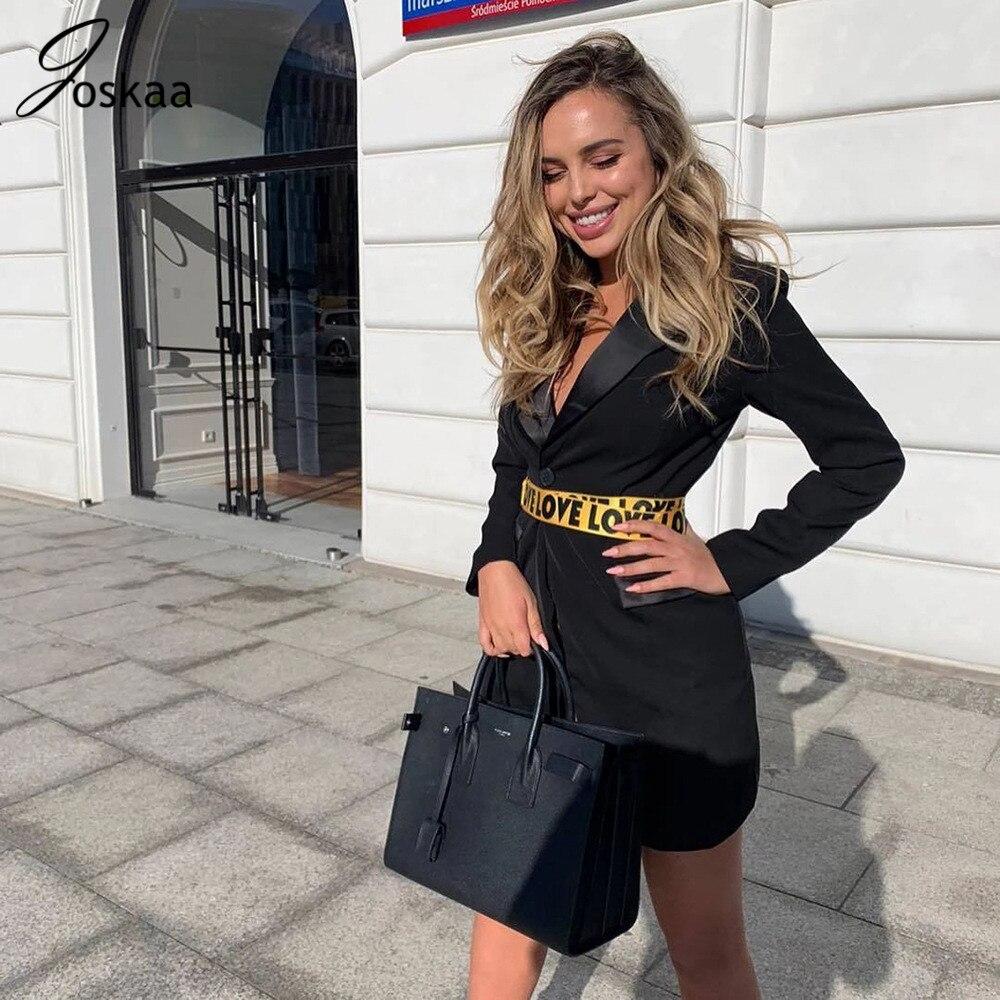 Joskaa Women White Blazer 2019 Autumn Long Sleeve OL Jackets Sashes Button Slim Blazer Feminino Long Business Blazer