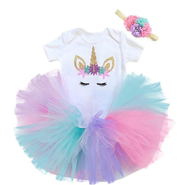Lato 1 rok dziewczynka sukienka impreza jednorożec dziewczyny Tutu sukienka maluch dzieci ubrania dla dzieci 1st stroje urodzinowe infantil vestido