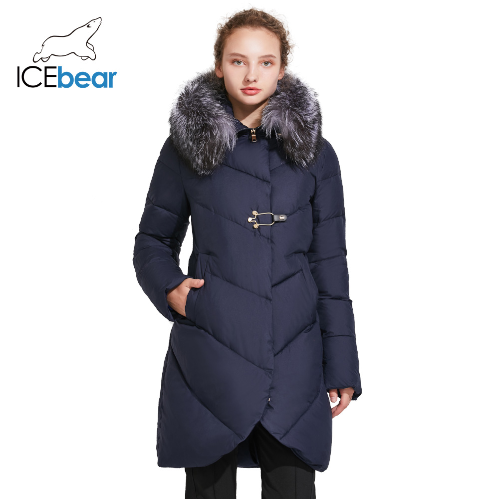 Icebear 2018 gola de pele lisa jaqueta de inverno feminino placket fivelas decorativas zíper dupla camada à prova vento parka casaco 17g6529