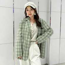 Casual loose ladies blazer Autumn Korean version of the retro plaid high quality Office fashion office small suit