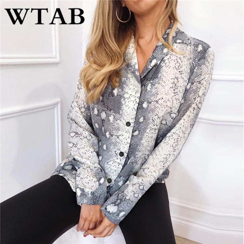 WTAB S-XXXL new snake women blouse long sleeve chiffon femme shirt women tops and blouses casual autumn plus size ladies blusas