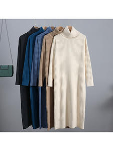 Midi Dress Christmas-Dresses Turtleneck Ribbed Knitted Warm GIGOGOU Autumn Winter Women