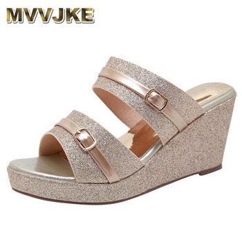 MVVJKE Women's Ladies Fashion Platform Heels sandals Solid Sequins Bling Wedges Casual Sandals Summer slippers Shoes sandalia