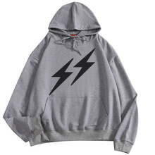Pocket Sweatshirt Loose Pullover Women's and Men's Simple Lightning Graphic Print Hooded Pullover Sweatshirt S-4XL marled self tie pullover sweatshirt