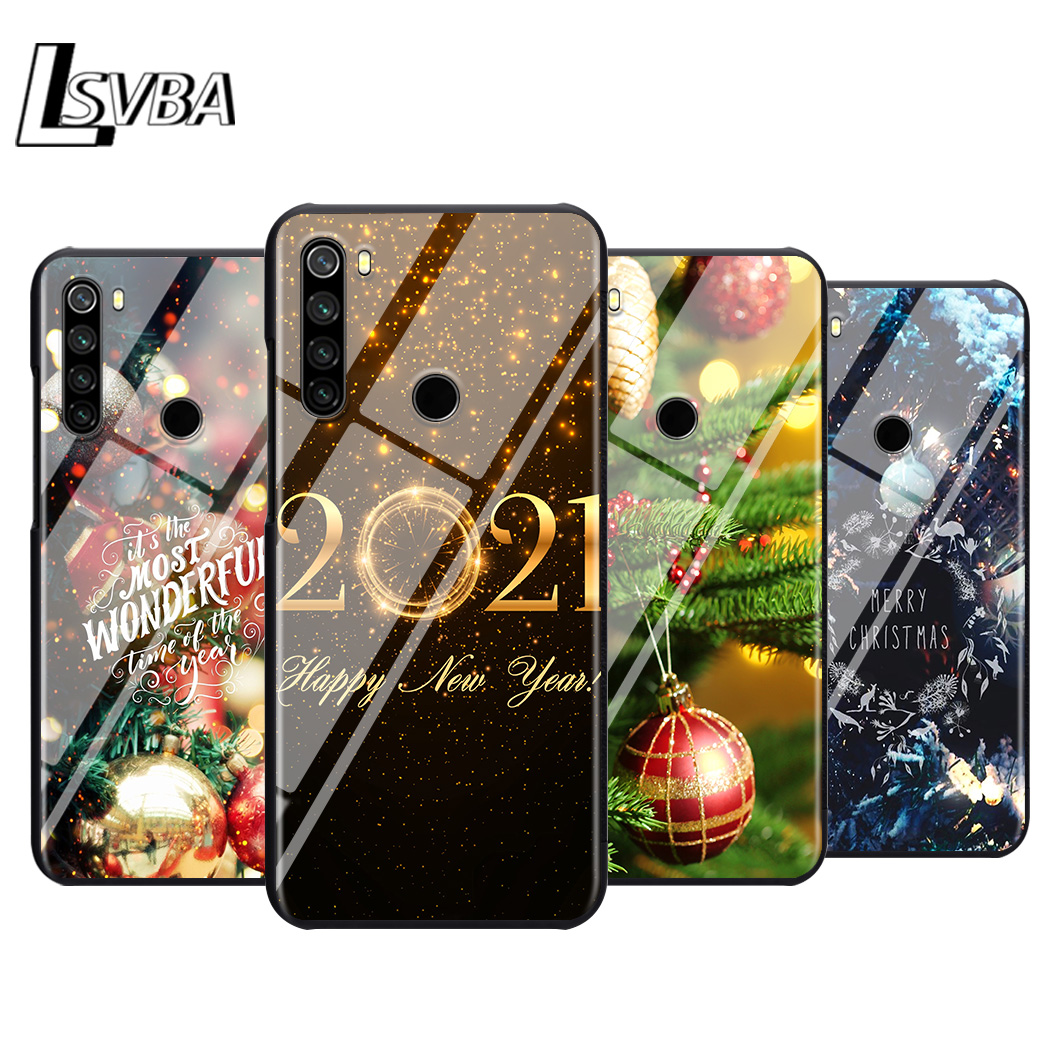 Bright Black Cover Christmas happy New Year For Xiaomi Redmi Note 9 9S Max 8T 8 7 6 5 Pro 5A 4X 4 Soft Black iphone case