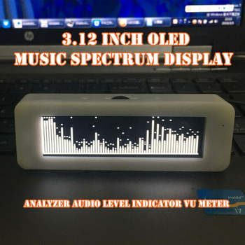 5V 1A 3.12 Inches LCD OLED Music Spectrum Display Analyzer Audio Level Indicator VU Meter 1P Double Male AUX Headphone Cable