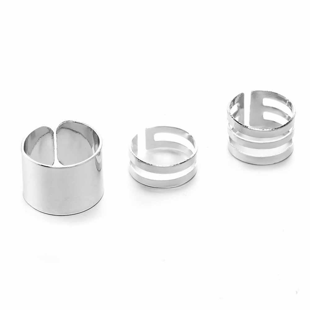 2020 novo 3 pçs anéis de ouro do punk feminino anillos pilha banda simples midi meados dedo junta anéis conjunto para as mulheres anel de rocha anel