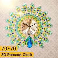 70x70cm DIY 3D Large Peacock Wall Clock Metal Crystal Diamond Clocks Watch Ornaments Home Living Room Decoration Crafts Gift