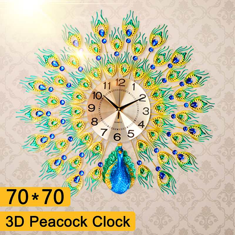 70x70cm bricolage 3D grand paon horloge murale en métal cristal diamant horloges montre ornements maison salon décoration artisanat cadeau