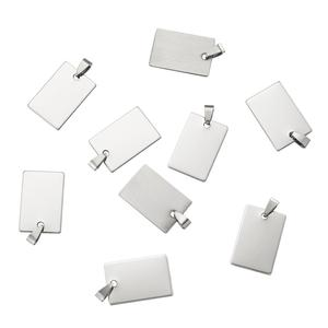 Image 2 - 50pcs Stainless Steel Tag Metal Stamping Blank Tags with Snap on Bail for Charm Pendant Jewelry DIY Making Polished