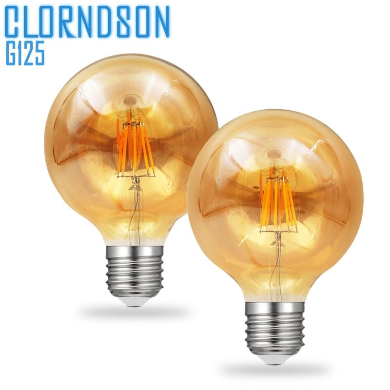 Dimmable Amber G125 6 Watts 8 Watts Led Antique E27 E26 Vintage Retro Lamp 110V 220V Filament Bulbs Lamp For Chandelier Lighting