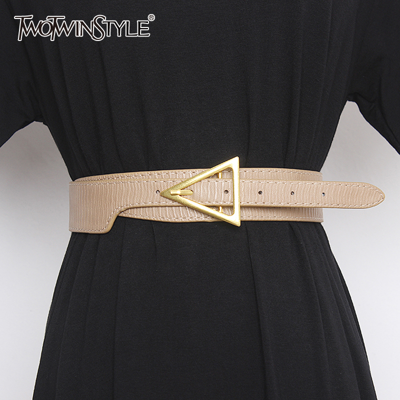 TWOTWINSTYLE Casual Asymmetrocial Women Belt Pu Leather Hit Color Hollow Out Patchwork Belsts Female Fashion 2020 Accessories
