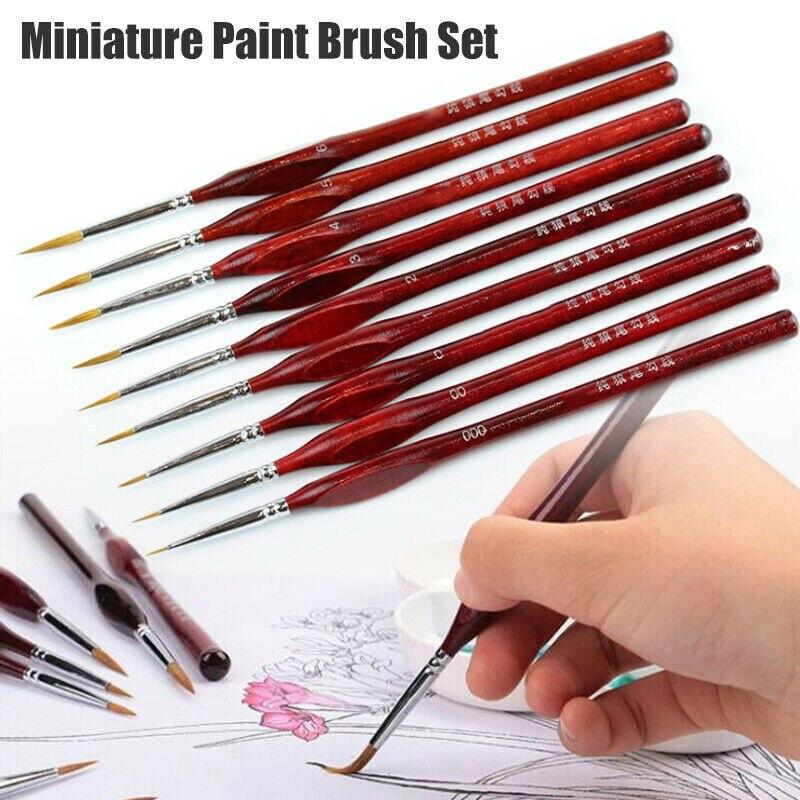 9Pcs/Set Miniature Paint Brush Kit Professional Sable Hair Fine Detail Art Model Tools L9