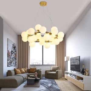 Image 4 - מודרני LED נברשות זכוכית השעיה lustres עבור סלון חדר אוכל חדר מטבח זהב/שחור תליון נברשות תאורה