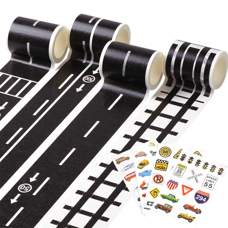 48mmX5m Washi Tape Railway Road Creative Traffic Road Track Scene Adhesive Masking Paper Tape Sticker Road For Kids Toy Car